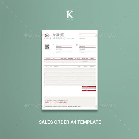 Sales Order A4 Template
