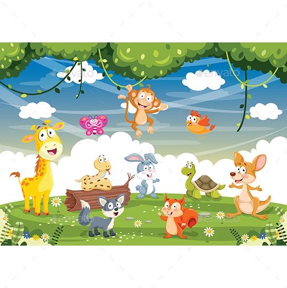 Vector Illustration Of Cartoon Animals - Animals Characters