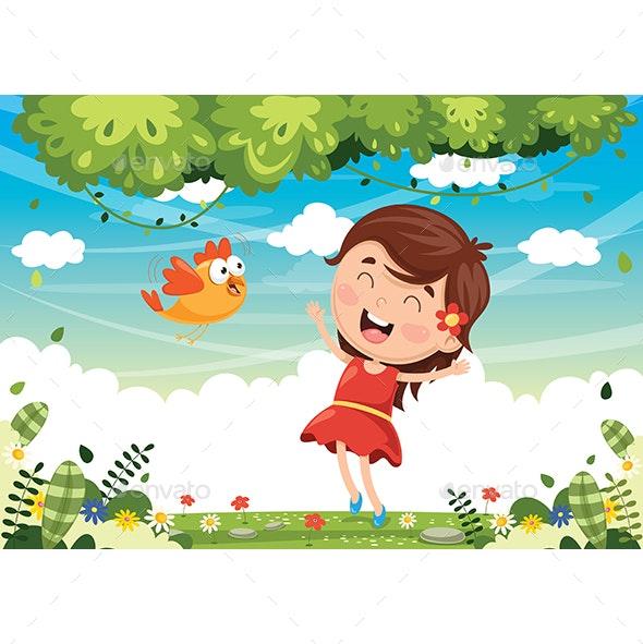 Vector Illustration of Cartoon Bird - Animals Characters