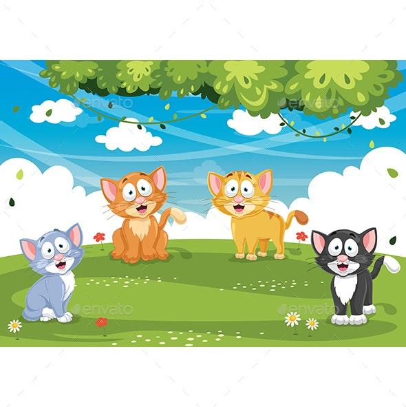 Vector Illustration of Cartoon Cats - Animals Characters