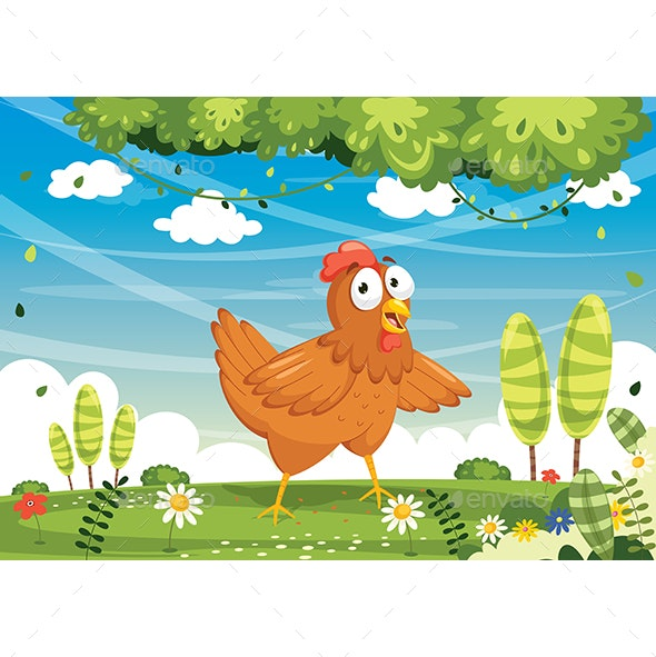 Vector Illustration of Cartoon Chicken - Animals Characters