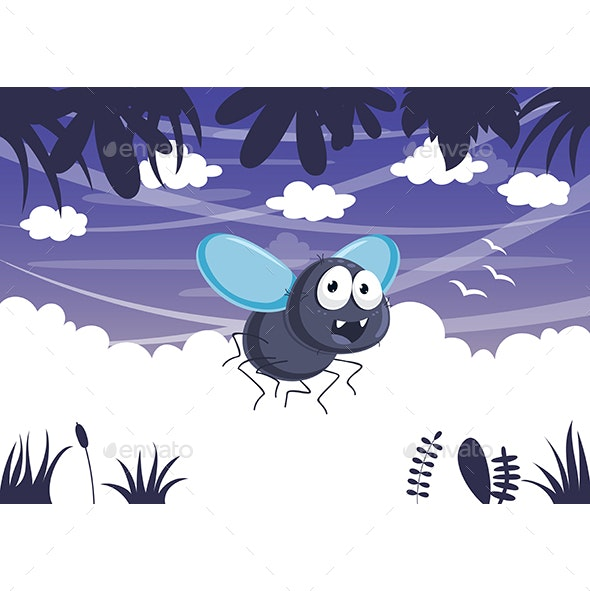 Vector Illustration Of Cartoon Fly - Animals Characters