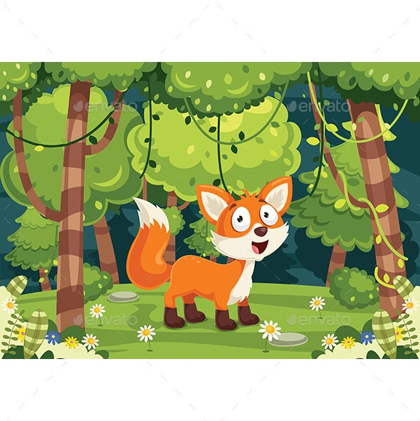 Vector Illustration of Cartoon Fox - Animals Characters