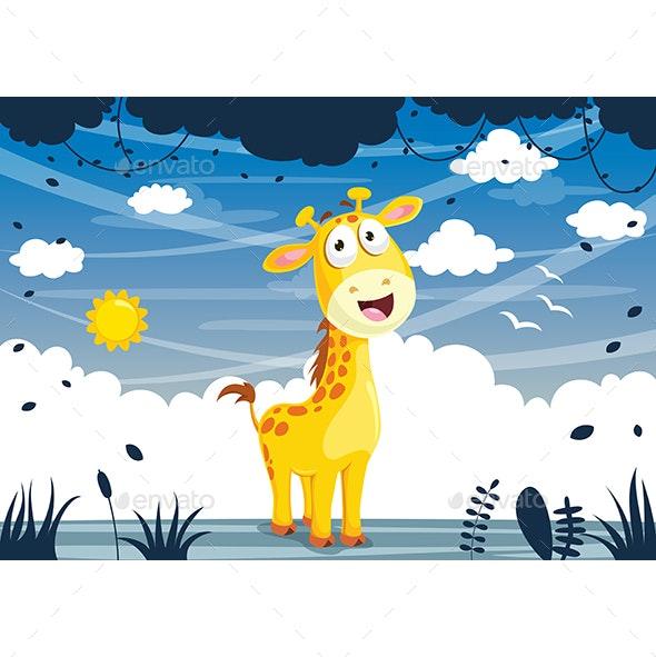 Vector Illustration Of Cartoon Giraffe - Animals Characters