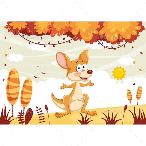 Vector Illustration of Cartoon Kangaroo - Animals Characters