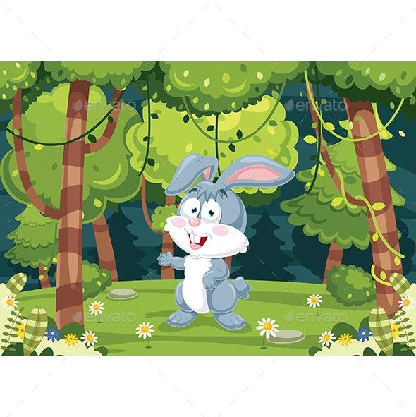 Vector Illustration of Cartoon Rabbit - Animals Characters