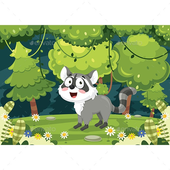 Vector Illustration of Cartoon Raccoon - Animals Characters