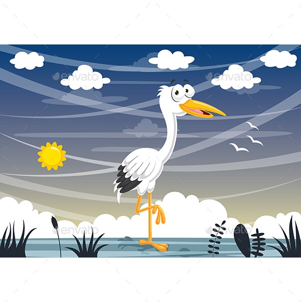 Vector Illustration of Cartoon Stork - Animals Characters