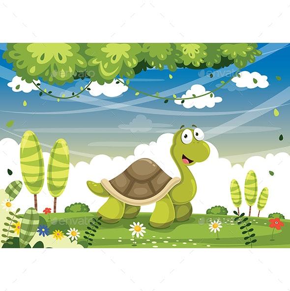 Vector Illustration of Cartoon Turtle - Animals Characters
