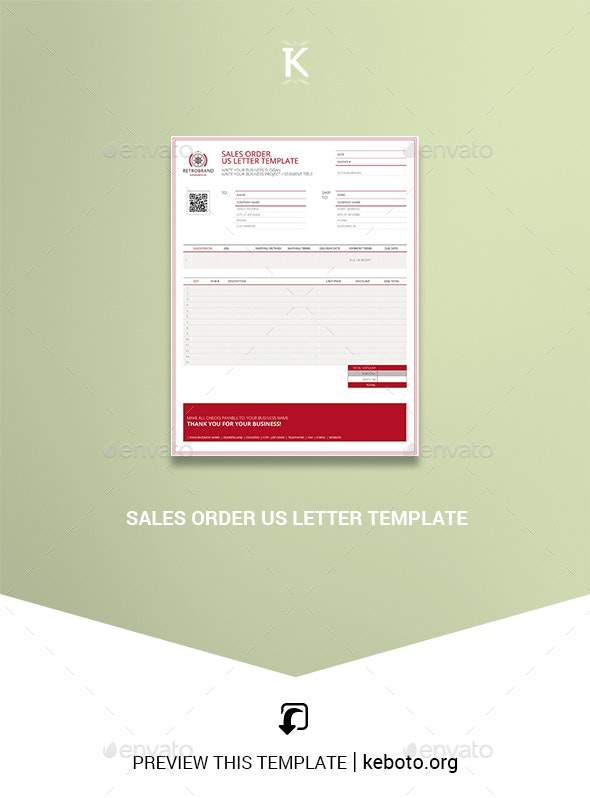 Sales Order US Letter Template - Miscellaneous Print Templates