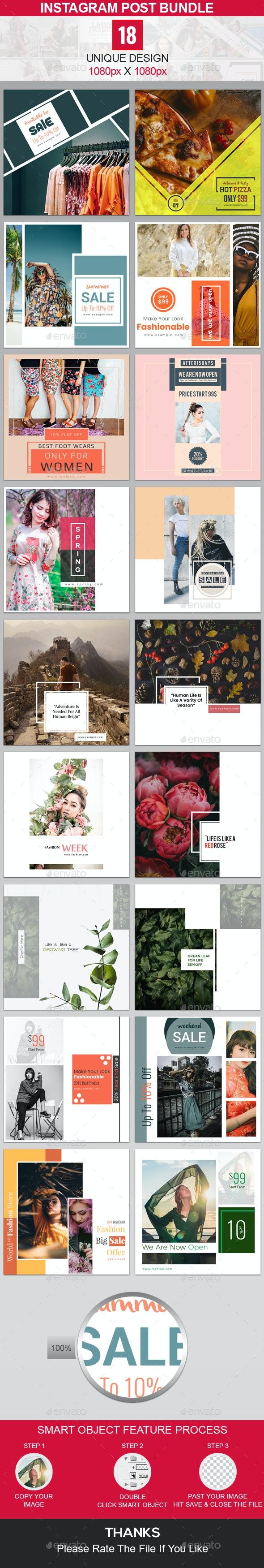 Instagram Post Bundle - 18 Design - Miscellaneous Social Media