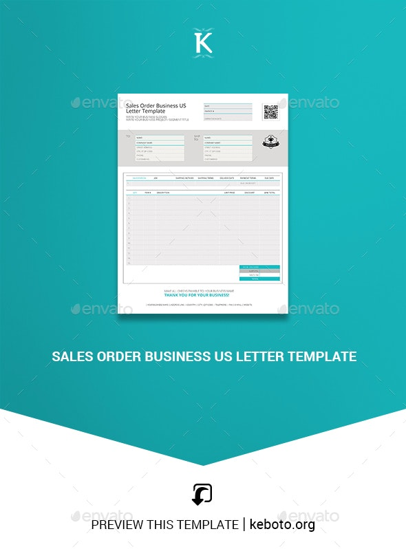 Sales Order Business US Letter Template - Miscellaneous Print Templates