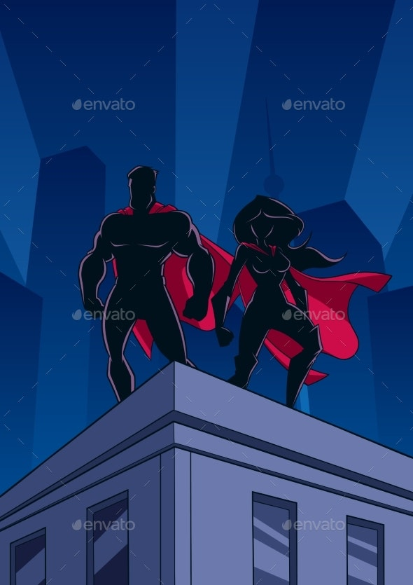 Superhero Couple Roof Watch Silhouettes - People Characters