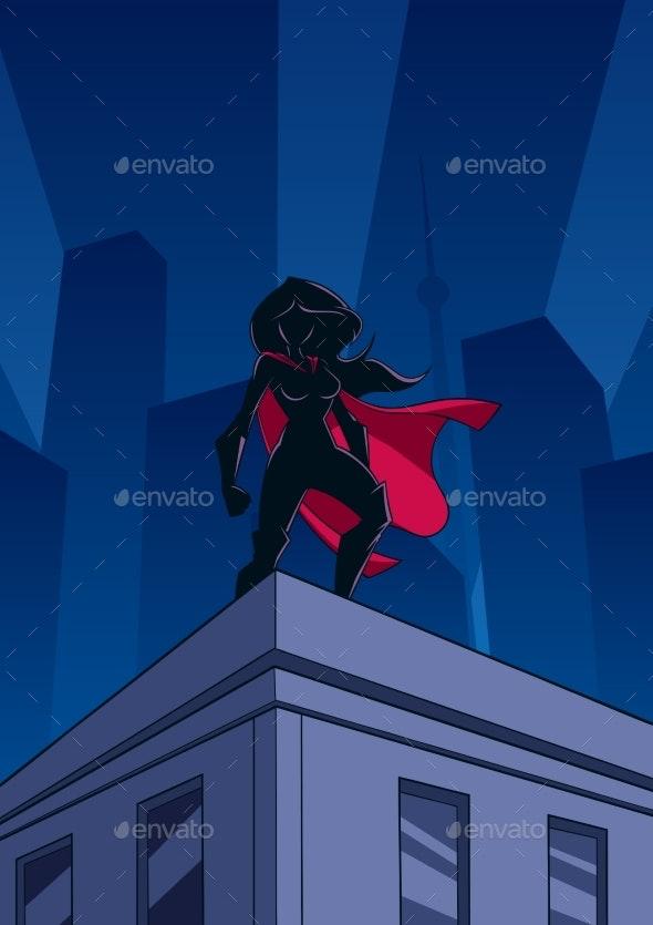 Superheroine Roof Watch Silhouette - Buildings Objects