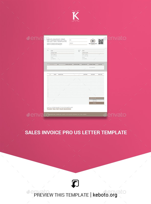 Sales Invoice Pro US Letter Template - Proposals & Invoices Stationery