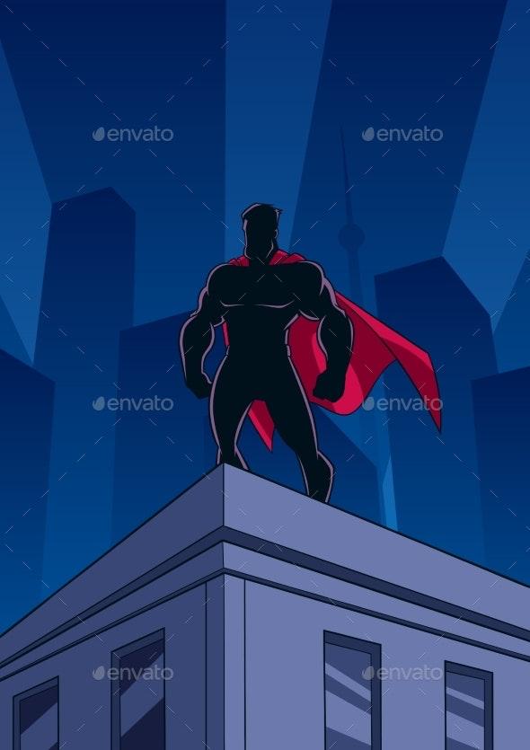 Superhero Roof Watching Silhouette - People Characters