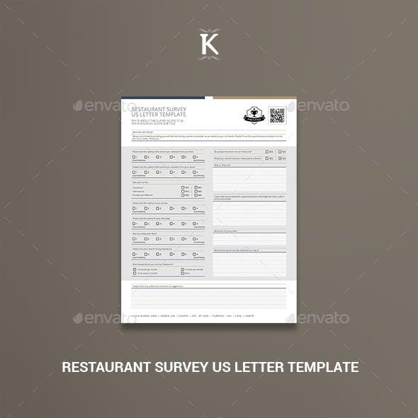 Restaurant Survey US Letter Template
