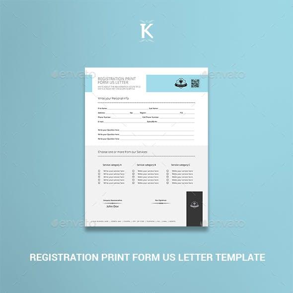 Registration Print Form US Letter Template