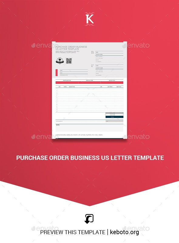 Purchase Order Business US Letter Template - Miscellaneous Print Templates