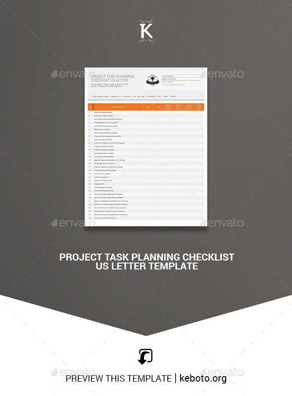 Project Task Planning Checklist US Letter Template - Miscellaneous Print Templates
