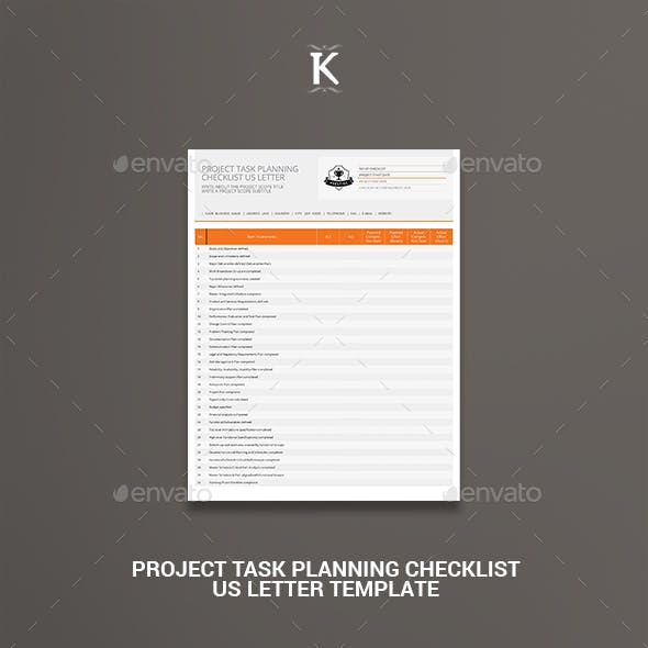 Project Task Planning Checklist US Letter Template
