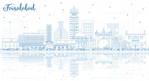 Outline Faisalabad Pakistan City Skyline with Blue Buildings - Buildings Objects