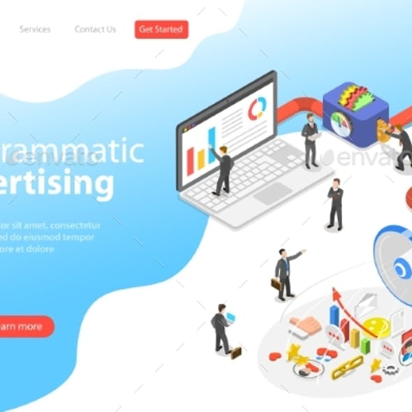 Flat Isometric Vector Landing Page Template