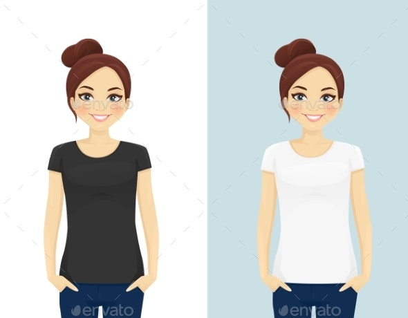 Girl in T-Shirts - People Characters