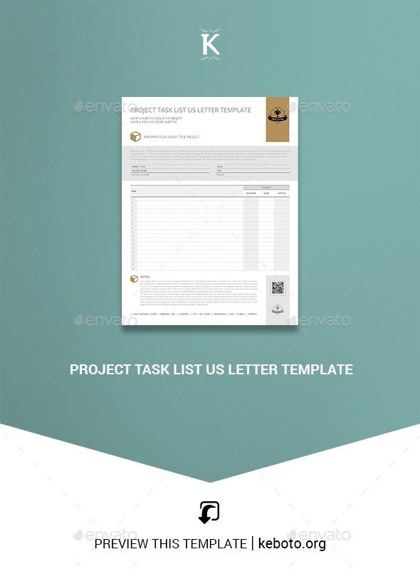 Project Task List US Letter Template - Miscellaneous Print Templates