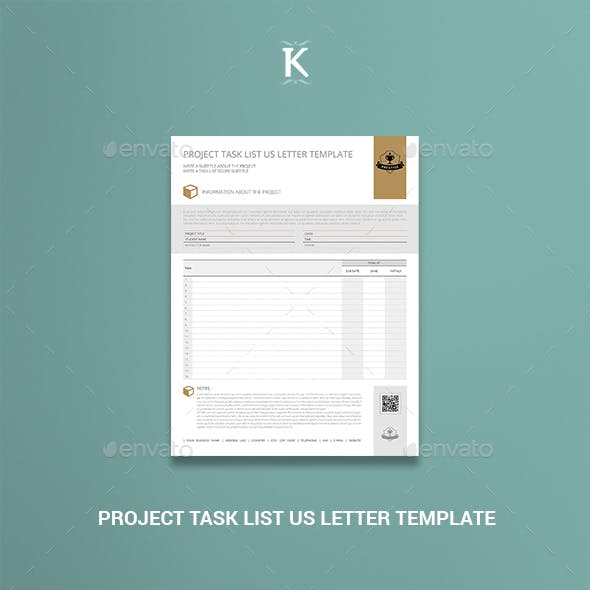 Project Task List US Letter Template