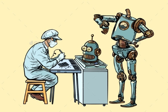 The Robot Came To Repair the Head Electronics - Technology Conceptual