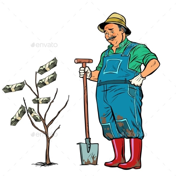 Old Gardener Grows Dollars on a Tree - People Characters