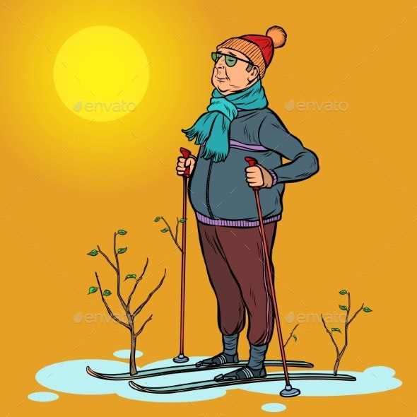Skier Man Spring in the Forest - People Characters