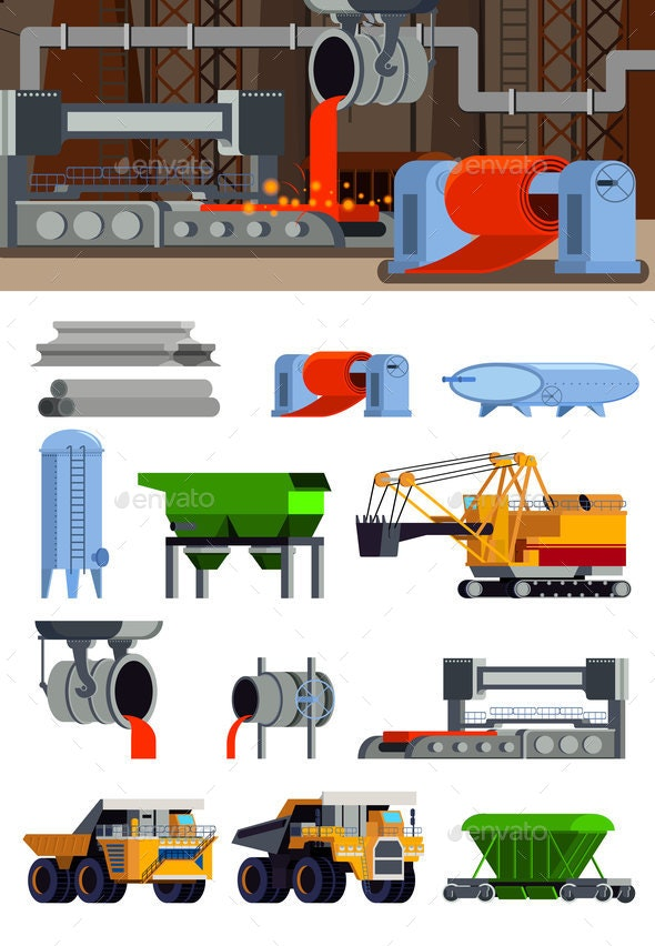 Steel Production Flat Icons Set - Industries Business