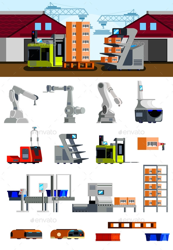 Warehouse Robots Flat Icons - Buildings Objects