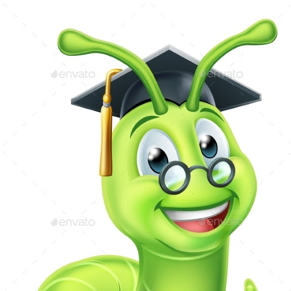 Book Worm Graduate Cartoon