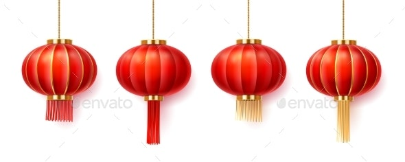 Set of Isolated Chinatown Lanterns for New Year - Man-made Objects Objects