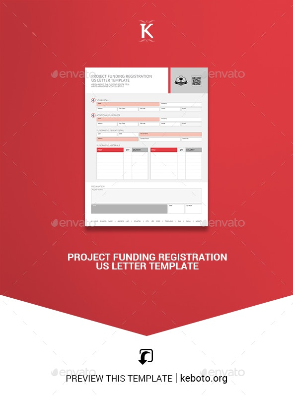 Project Funding Registration US Letter Template - Miscellaneous Print Templates