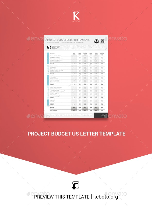 Project Budget US Letter Template - Miscellaneous Print Templates