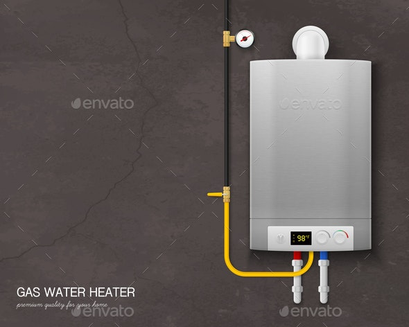 Realistic Gas Water Heater Boiler Composition - Backgrounds Decorative