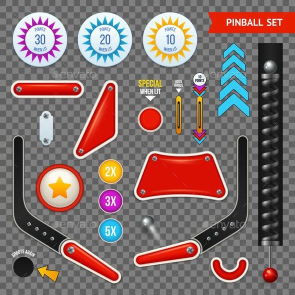 Pinball Elements Transparent Icon Set - Miscellaneous Vectors
