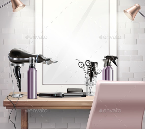 Hairdress Tools Composition - Backgrounds Decorative