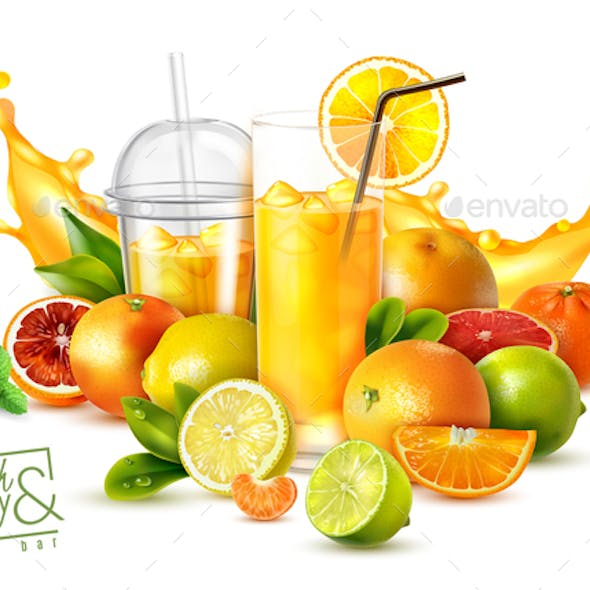 Fruit Juice Realistic Poster