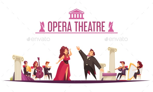 Theater Orchestra Performance Cartoon - Industries Business