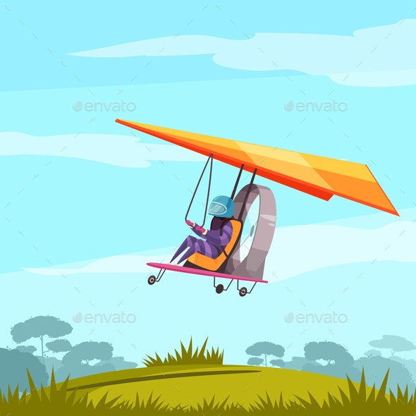 Skydiving Sport Flat Poster - Sports/Activity Conceptual