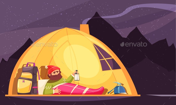 Mountaineering Alpinist Tent Cartoon - Landscapes Nature