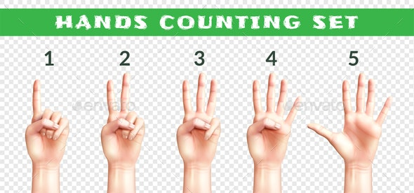 Transparent Set of Counting Hands - Miscellaneous Vectors