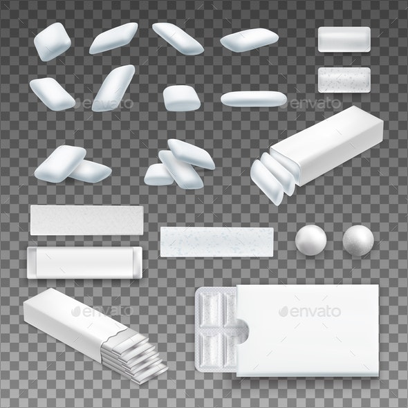 Realistic Chewing Gum Transparent Set - Food Objects
