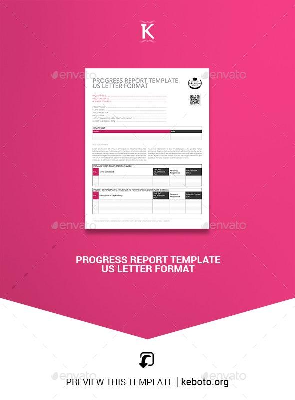 Progress Report Template US Letter Format - Corporate Brochures