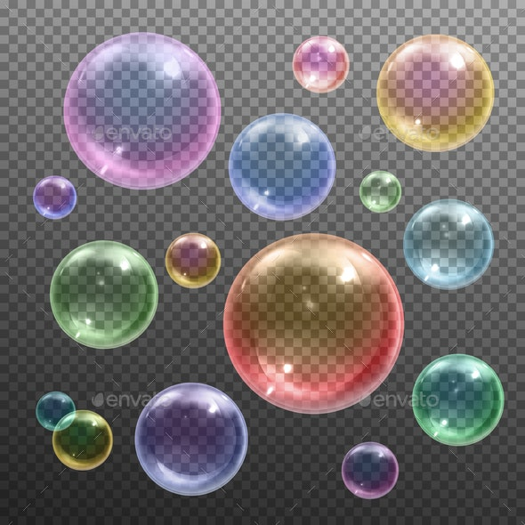 Soap Bubbles Realistic Transparent - Organic Objects Objects